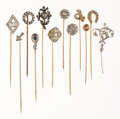 Estate Jewelry:Stick Pins and Hat Pins, Diamond, Sapphire, Platinum, Gold, Silver Stickpins. ... (Total: 12 Items)