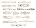 Estate Jewelry:Brooches - Pins, Diamond, Sapphire, Freshwater Pearl, Platinum, Gold Brooches. ...