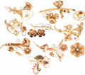 Estate Jewelry:Brooches - Pins, Retro Diamond, Cultured Pearl, Synthetic Ruby, Gold Brooches. ...