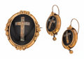 Estate Jewelry:Suites, Victorian Enamel, Woven Hair, Gold, Silver Mourning Locket JewelrySuite. . ... (Total: 3 Items)