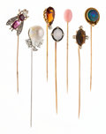 Estate Jewelry:Stick Pins and Hat Pins, Diamond, Multi-Stone, Conch Pearl, South Sea Cultured Pearl,Platinum, Gold Stickpins. ...