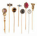 Estate Jewelry:Stick Pins and Hat Pins, Diamond, Multi-Stone, Enamel, Platinum, Platinum-Topped Gold, Gold, Silver-Topped Gold Stickpins. ...