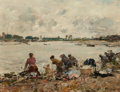 Paintings, Eugène Louis Boudin (French, 1824-1898). Laveuses au bord de la Touques, 1894. Oil on panel. 10-1/2 x 13-3/4 inches (26....
