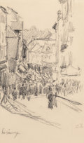 Works on Paper, Camille Pissarro (French, 1830-1903). Scene de rue, Lisieux, 1901. Pencil on paper. 8 x 5-1/4 inches (20.3 x 13.3 cm) (s... (Total: 2 Items)