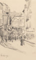 Camille Pissarro (French, 1830-1903) Scene de rue, Lisieux, 1901 Pencil on paper 8 x 5-1/4 inches (20.3 x 13.3 cm) (s...