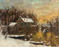 Works on Paper, Pierre Eugène Montezin (French, 1874-1946). Paysage sous neige. Oil on paper laid on canvas. 29 x 36 inches (73.7 x 91.4...