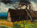 Fine Art - Painting, European:Modern  (1900 1949)  , Maurice de Vlaminck (French, 1876-1958). Ferme. Oil oncanvas. 20 x 25-3/4 inches (50.8 x 65.4 cm). Signed lowerleft:...