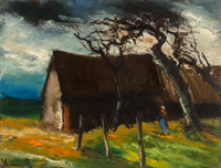 Maurice de Vlaminck (French, 1876-1958) Ferme Oil on canvas 20 x 25-3/4 inches (50.8 x 65.4 cm)