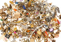 Diamond, Multi-Stone, Synthetic Stone, Cultured Pearl, Enamel, Platinum, Gold, Yellow Metal Jewelry Components 1lb