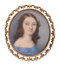 Estate Jewelry:Brooches - Pins, Painted Portrait, Hair, Gold, Memorial Brooch . ...