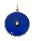 Estate Jewelry:Pendants and Lockets, Diamond, Enamel, Gold Locket. . ...