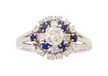 Estate Jewelry:Rings, Diamond, Synthetic Sapphire, White Gold Ring . ...