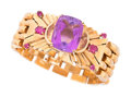 Estate Jewelry:Bracelets, Retro Amethyst, Ruby, Gold Bracelet. ...