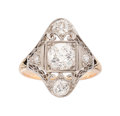 Estate Jewelry:Rings, Edwardian Diamond, Platinum-Topped Gold Ring . ...