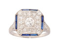 Estate Jewelry:Rings, Art Deco Diamond, Synthetic Sapphire, Platinum Ring . ...