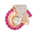 Estate Jewelry:Rings, Retro Diamond, Synthetic Ruby, Pink Gold, Palladium Ring . ...