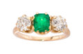 Estate Jewelry:Rings, Emerald, Diamond Gold ring, Circa 1890. ...
