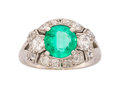 Estate Jewelry:Rings, Art Deco Emerald, Diamond, Platinum Ring . ...