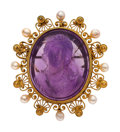 Estate Jewelry:Cameos, Amethyst Cameo, Freshwater Cultured Pearl, Gold Brooch . ...