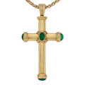 Estate Jewelry:Necklaces, Emerald, Gold Pendant-Necklace, Theo Fennell. ...