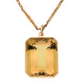 Estate Jewelry:Pendants and Lockets, Citrine, Gold Pendant-Necklace. ...