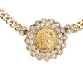 Estate Jewelry:Necklaces, Diamond, Gold Coin, Gold Necklace, Michalis. ...