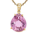 Estate Jewelry:Necklaces, Kunzite, Diamond, Gold Pendant-Necklace, Carvin French. ...