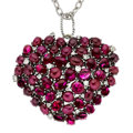 Estate Jewelry:Pendants and Lockets, Ruby, Diamond, White Gold Pendant-Necklace. ...