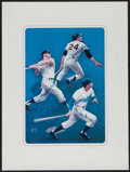 Baseball Collectibles:Others, Mickey Mantle, Willie Mays and Duke Snider Multi SignedLithograph....
