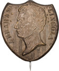 Political:Ferrotypes / Photo Badges (pre-1896), Abraham Lincoln: Silvered Brass Shell Portrait Badge....