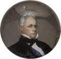 Political:3D & Other Display (pre-1896), James Buchanan: Domed Glass Paperweight....