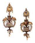 Estate Jewelry:Earrings, Victorian Citrine, Seed Pearl, Gold Earrings. . ... (Total: 2Items)