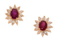 Estate Jewelry:Earrings, Ruby, Diamond, Gold Earrings. . ... (Total: 2 Items)