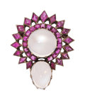 Estate Jewelry:Brooches - Pins, Moonstone, Ruby, Silver-Topped Gold Brooch. . ...