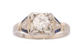 Estate Jewelry:Rings, Art Deco Diamond, Synthetic Sapphire, White Gold Ring . ...
