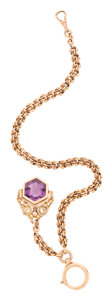 Estate Jewelry:Other, Amethyst Intaglio, Gold Watch Chain & Fob. . ...