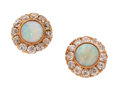 Estate Jewelry:Earrings, Antique Opal, Diamond, Gold Earrings. . ... (Total: 2 Items)