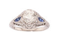 Estate Jewelry:Rings, Art Deco, Diamond, Synthetic Sapphire Ring . ...