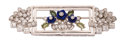 Estate Jewelry:Brooches - Pins, Art Deco Diamond, Lapis Lazuli, Peridot, Platinum Brooch . ...