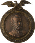 Political:Ribbons & Badges, Ulysses S. Grant: Large High Relief Brass Shell Medallion....