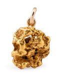 Minerals:Golds, Gold Pendant. Alaska. 1.10 x 0.85 x 0.41 inches (2.79 x 2.15 x 1.04 cm). ...