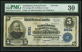 National Bank Notes:Pennsylvania, Smethport, PA - $5 1902 Plain Back Fr. 600 The Grange NB of McKean County Ch. # 8591. ...