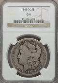 Morgan Dollars: , 1882-CC $1 Good 4 NGC. NGC Census: (22/16623). PCGS Population: (33/32135). Mintage 1,133,000. ...