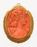 Estate Jewelry:Brooches - Pins, Coral Cameo, Gold Pendant-Brooch. ...