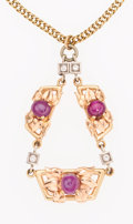 Estate Jewelry:Pendants and Lockets, Star Ruby, Diamond, Gold and Platinum Pendant-Necklace. ...