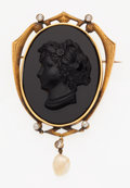 Estate Jewelry:Brooches - Pins, Antique Black Onyx Cameo, Diamond, Pearl, Gold Pendant-Brooch. ...