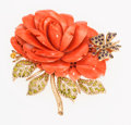 Estate Jewelry:Brooches - Pins, Coral, Ruby, Glass, Gold Brooch. ...