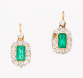 Estate Jewelry:Earrings, Emerald, Diamond, Platinum-Topped Gold Earrings. ... (Total: 2Items)