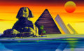 Animation Art:Painted cel background, Iron Man Sphinx and Great Pyramids Painted Background ColorKey (Marvel Films, 1995)....