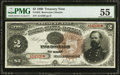 Large Size:Treasury Notes, Fr. 353 $2 1890 Treasury Note PMG About Uncirculated 55.. ...